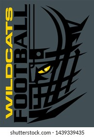 wildcats football team design with mascot and facemask for school, college or league