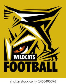 wildcats football team design with mascot eye black for school, college or league