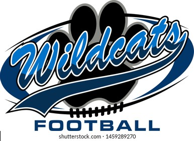 wildcats football team design with paw print inside ball for school, college or league