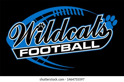wildcats football team design in script with paw print for school, college or league