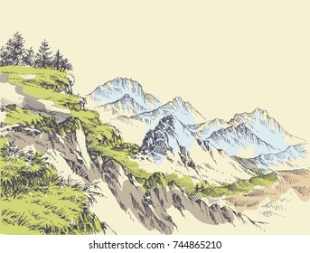 Wilderness drawing. Mountains design