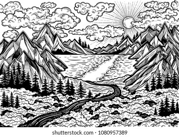Wilderness landscape scene with a lake, road, pine forest and mountains. Vector illustration isolated. Retro print design, vintage outdoors nature. Adventure artwork for travel and wanderlust tattoo.