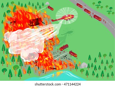 Wildfire being put out by firefighters using aerial and land vehicles. Editable Clip Art.