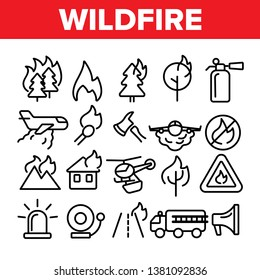Wildfire, Bushfire Vector Icons Set. Wildfire, Natural Disaster Linear Illustrations. Forests, Houses in Flames. Announcing Fire Danger Contour Pictograms. Firefighting Vehicle, Plane