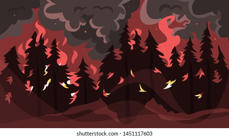 Wildfire concept. Hot red flame in the forest, natural disaster. Ecology in danger. Tree on fire. Vector illustration in cartoon style