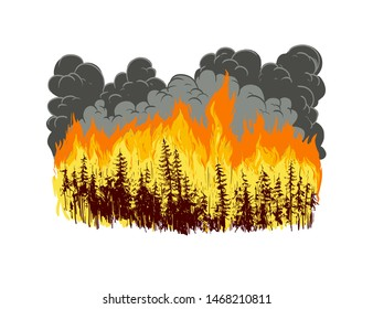 Wildfire in forest. Hand drawn vector illustration.