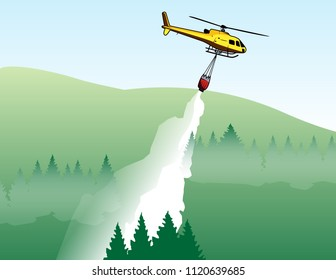 Wildfire Helicopter dropping water