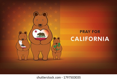 Wildfires in California, USA, Pray for California. With three brown bears embracing the heart of the national flag Maps and trees. Vector EPS10