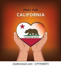 Wildfires in California, USA, Pray for California. Vector EPS10