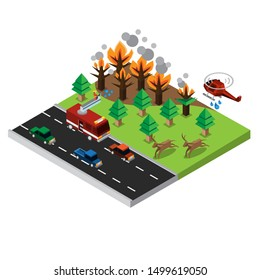 wildfires disaster isometric with firetruck, car, helicopter and animal vector illustration