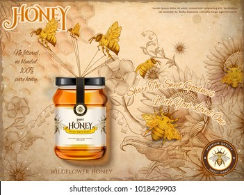 Wildflower honey ads, honey bees carrying honey glass jar in 3d illustration, retro flowers garden and bees background in etching shading style, beige tone