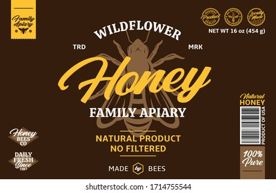 Wildflower honey label. Honey packaging design elements for apiary and beekeeping products, branding and identity
