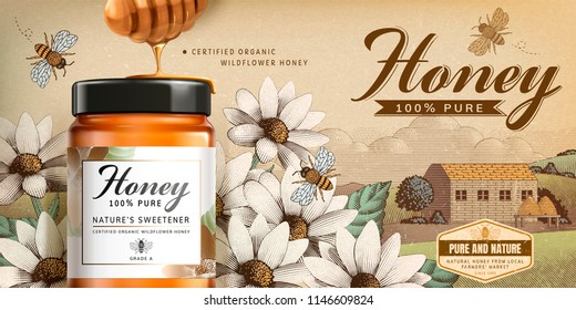 Wildflower honey product in 3d illustration on engraved country side scenery