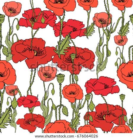 Wildflower Poppy Flower Pattern Full Name Stock Vector Royalty Free
