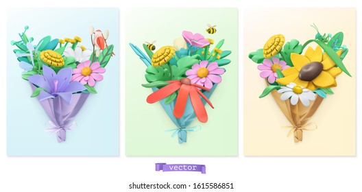 Wildflowers bouquet. Spring and summer plasticine art illustration. 3d vector objects. Nature icon set