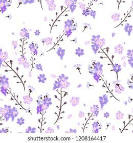 Wildflowers cute flowers, summer pattern