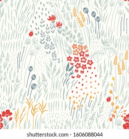 Wildflowers, grass and insects scattered on light background, seamless floral abstract pattern with flowers. Vector meadow hand drawn illustration in vintage style.