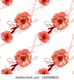 Wildflowers pattern handcrafted artsy poppy surface design