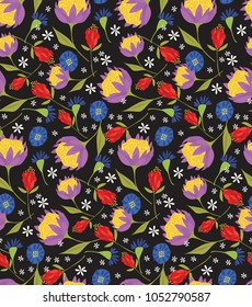 Wildflowers Seamless Pattern