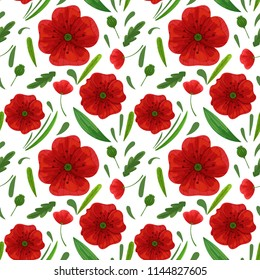 Wildflowers seamless pattern with meadow flowers. Red blossom poppy sealess with green leaves texture on a white background. Textile, fabric pattern, wrapping paper template.