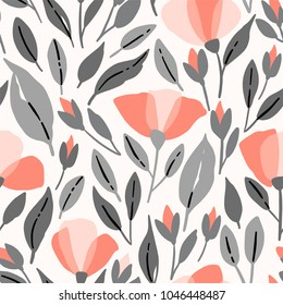 Wildflowers seamless pattern. Vector poppys illustration with pink flowers