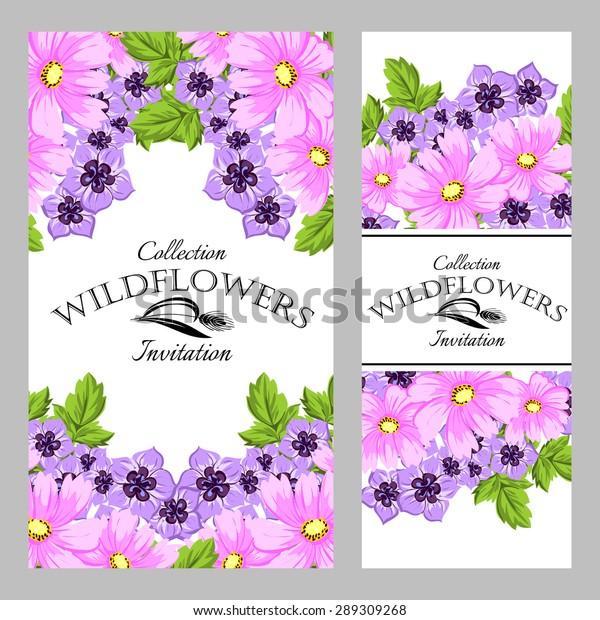 Wildflowers Vintage Invitation Card Beautiful Flowers Stock