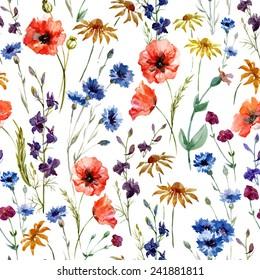 wildflowers, watercolor, poppy, cornflower, chamomile, background