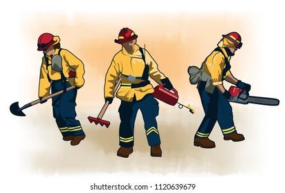 Wildland Wildfire Firefighters