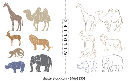 Wildlife abstract vector set 3