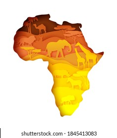 Wildlife of Africa, world continent. Flora and fauna. Vector illustration in paper art style. Mainland Africa map with nature, elephant, giraffe, lion, zebra, rhino camel fox wild animals silhouettes.