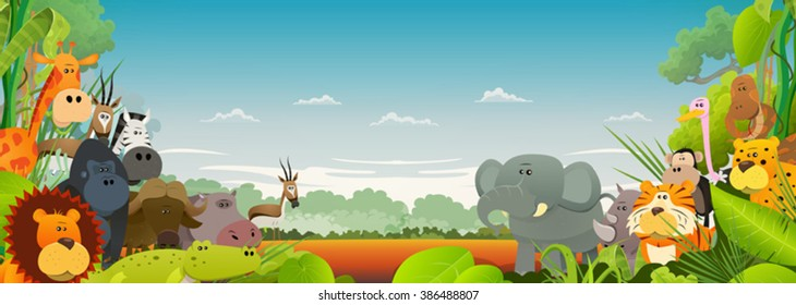 Wildlife African Animals Background/ Cute cartoon wild animals from african savannah, with lion, gorilla, elephant, giraffe, gazelle, gorilla monkey, hippo, ape and zebra on wide jungle background