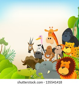 Wildlife Animals Background/ Illustration of cute various cartoon wild animals from african savannah, including lion, gorilla, elephant, giraffe, gazelle, monkey and zebra with jungle background