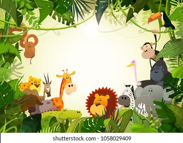 Wildlife Animals Landscape/ Illustration of cute cartoon wild animals from african savannah, including hippo, lion, gorilla, elephant, giraffe, gazelle, ostrich and zebra with jungle background