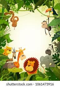 Wildlife Animals Wallpaper/Illustration of cute cartoon wild animals from african savannah, including hippo, lion, gorilla, elephant, giraffe, gazelle, ostrich and zebra with jungle background