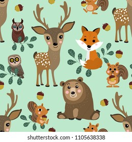 Wildlife character seamless pattern. Forest animals cartoon. Cute deer, fox, squirrel, bear and owl vector set.