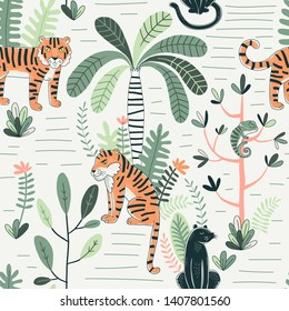 Wildlife color vector seamless pattern. Panther and tiger background. Rainforest, jungle fauna, flora. Tropical plants, palms, flowers. Decorative animal textile, wallpaper, wrapping paper design
