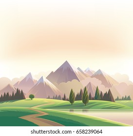 Wildlife decorative landscape with mountains, road and forest.