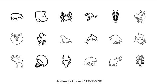 Wildlife icon. collection of 18 wildlife outline icons such as crab, bull, cangaroo, pig, buffalo, hippopotamus, dolphin. editable wildlife icons for web and mobile.