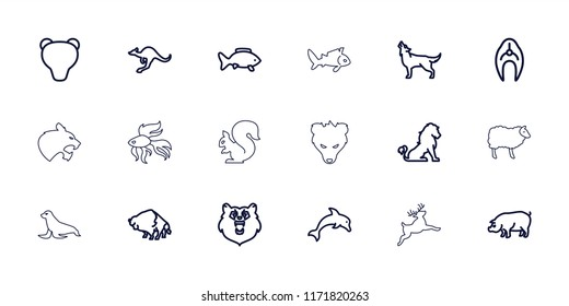 Wildlife icon. collection of 18 wildlife outline icons such as fish, bear, lion, buffalo, pig, cangaroo, wolf, dolphin, panther. editable wildlife icons for web and mobile.