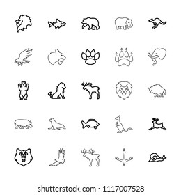 Wildlife icon. collection of 25 wildlife outline icons such as bear, lion, moose, fish, deer, cangaroo, snail, paw, eagle, panther. editable wildlife icons for web and mobile.