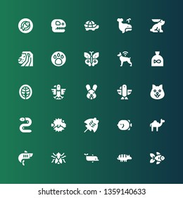 wildlife icon set. Collection of 25 filled wildlife icons included Goldfish, Armadillo, Dolphin, Fly, Shark, Camel, Fish, Manta ray, Blowfish, Eel, Dog, Eagle, Rabbit, Salmon