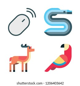 wildlife icon set. vector set about eel, antelope, parrot and mouse icons set.