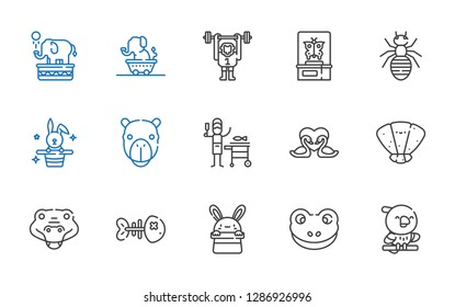 wildlife icons set. Collection of wildlife with parrot, frog, bunny, fishbone, crocodile, seashell, swans, fish, camel, rabbit, ant, butterfly. Editable and scalable wildlife icons.