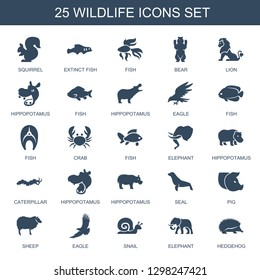 wildlife icons. Trendy 25 wildlife icons. Contain icons such as squirrel, extinct fish, fish, bear, lion, hippopotamus, eagle, crab, elephant. wildlife icon for web and mobile.