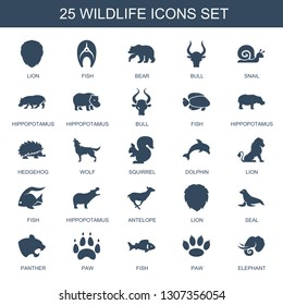 wildlife icons. Trendy 25 wildlife icons. Contain icons such as lion, fish, bear, bull, snail, hippopotamus, hedgehog, wolf, squirrel, dolphin. wildlife icon for web and mobile.