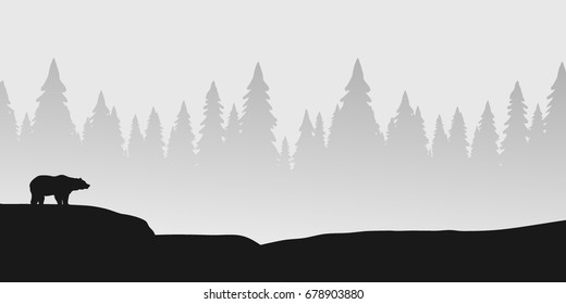 wildlife landscape with bear silhouette and forest, black and white panoramic format realistic vector