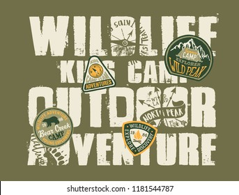 Wildlife outdoor adventure kids camp, grunge vector print for children wear with embroidery patches