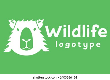 Wildlife Vector Logo design template with capybara. silhouette of animal logotype with Negative space style. Badge of a gentle mammal for cafe, shop, vegan products, branding.