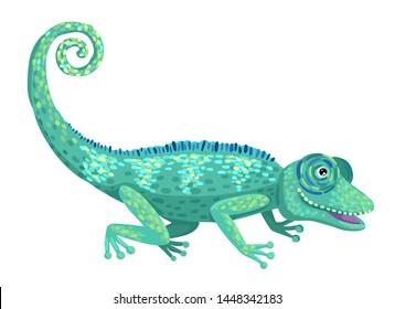 Wildlife, wild or domestic animal, lizard of bright color, chameleon symbol. Children's illustration. Vector flat cartoon style illustration