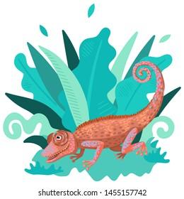 Wildlife, wild or domestic animal, lizard of bright color, chameleon symbol, green plants around. Children's illustration. Vector flat cartoon style illustration